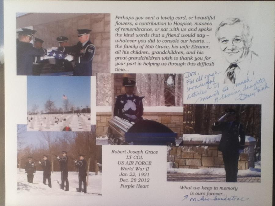Robert Grace - Services at Arlington National Cemetery, Washington, D.C. Photo provided