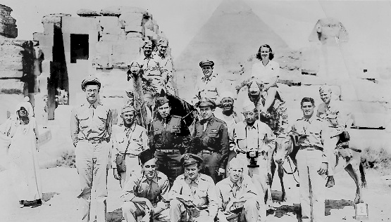 Harold Sandler on the far left. Egypt's pyramids in background. Photo provided by Harold Sandler.