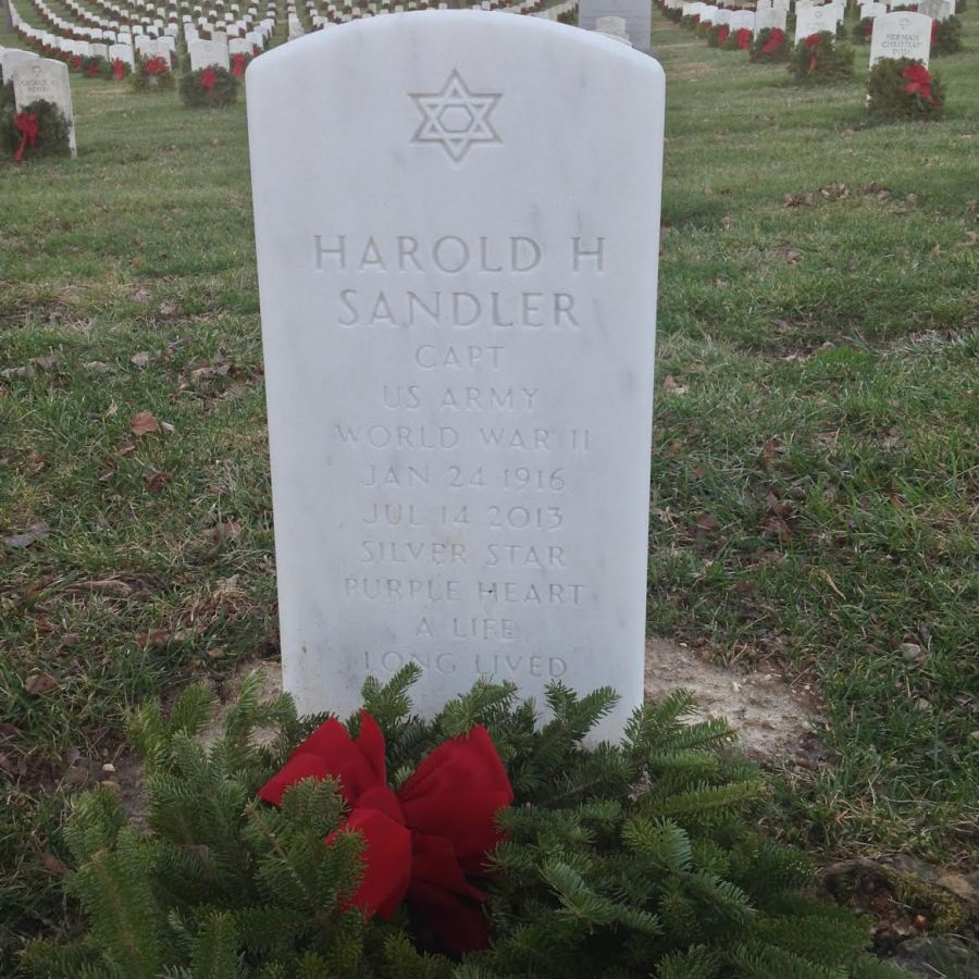 A life long lived. Harold Sandler's final resting place at Arlington National Cemetery. Photo courtesy of Betty Lou Rocklein