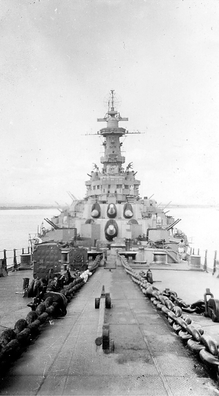 This shot of the Battleship USS Missouri shows four of her 16-inch main guns. The Missouri took part in the Battle of Iwo Jima and Okinawa. The Japanese surrendered on the ship's deck, in the foreground where this picture was taken. Photo provided by Ed Kalanta