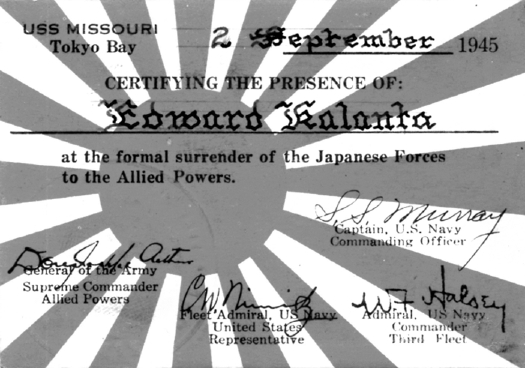 Every one of the Missouri's crew received a card like this for taking part in the surrender in Tokyo Bay almost 59 years ago.