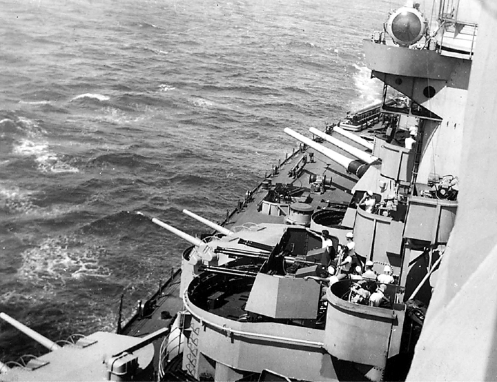 Pictured are some of the Missouri's five-inch and 40 millimeter port side guns. The battleship's 16-inch main guns could fire a shell the size of a car 25 miles.