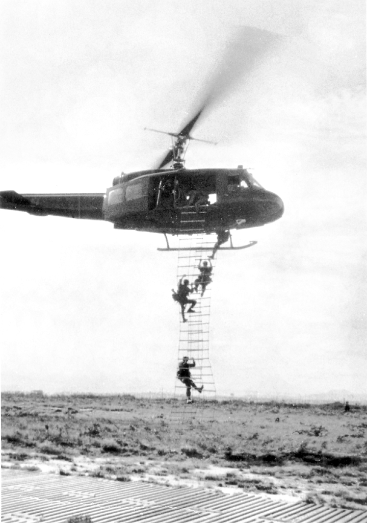 When it was time to get out of Dodge in a hurry, a Huey helicopter would fly in and hover with a couple of ladders flapping loose as members of the recon team climbed aboard. Photo provided