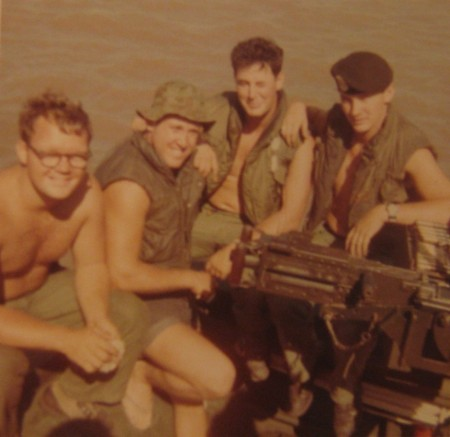 This was Bill Schwartz crew aboard his PBR patrol boat during the Vietnam War in 1968. He is the third sailor from the left. Photo provided