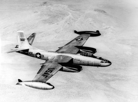 "More reach is given to the long striking arm of the U.S. Air Force North American B-45C Tornado four-jet bomber, a ""wing tip tank"" version of the B-45.  The tanks pack much more range into the Tornado's normal tactical radius of over 800 miles.  Black paint on inside of tanks and engine nacelles reduce glare.  The sleek bombers carry a payload of over 10 tons and are in the 550 miles per hour speed class."