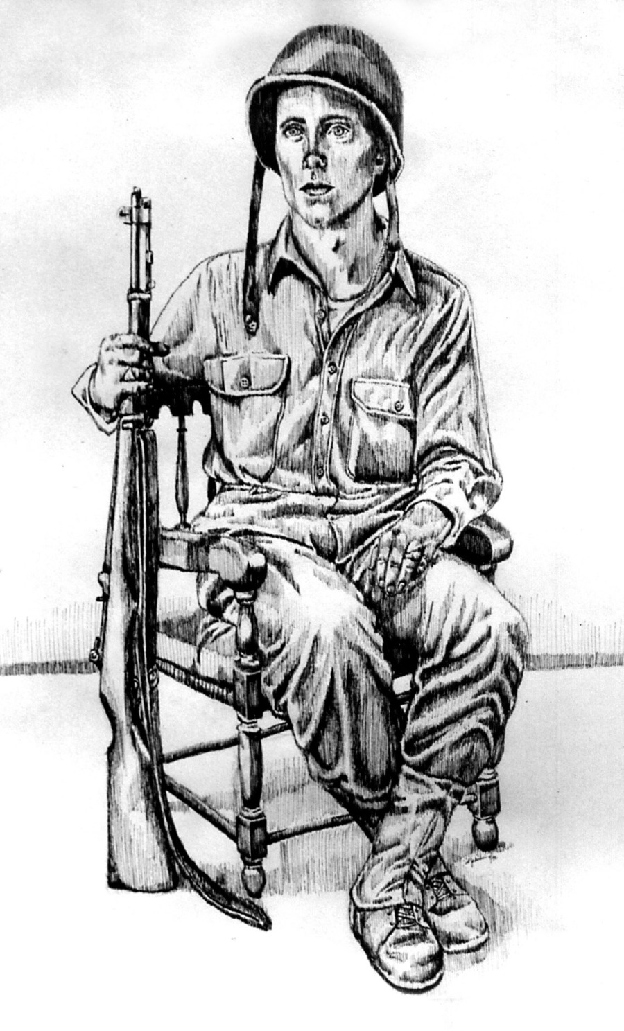 This sketch of Burns holding his M-1 rifle was drawn by Mary Jakubiec, one of his daughters, from a studio shot that appeared in a local newspaper after the war. Photo provided