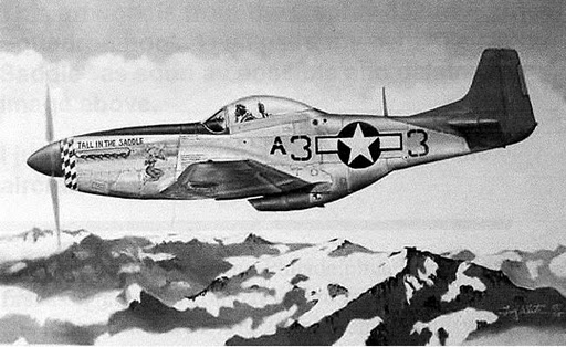 "Lt. Hardy is pictured flying his P-51D Mustang, ""Tall in the Saddle,"" over the Italian Alps as a member of the 99th Fighter Squadron during World War II. Photo courtesy Troy White/http://www.starduststudios.com/tuskegee-airmen.html"