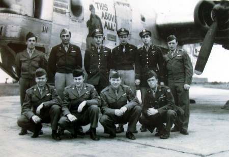 "This is the crew of ""This Above All"", a B-24 ""Liberator"" bomber Dave McKalip of Port Charlotte, Fla. flew on in World War II as part of the 8th Air Force in England. He went on 30 combat missions. McKalip is standing in the back row at far right. Photo provided"