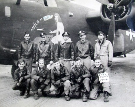 Herb May of Port Charlotte, Fla. (squatting second from left). They were in the 466 Bomb Group, 786th Squadron, 8th Air Force during World War II. Photo provided