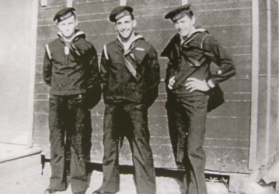 Nicholas and his two buddies flanking him were sent to the Florida Keys in 1943 to test an amphibious landing craft called a Dukw. Photo provided