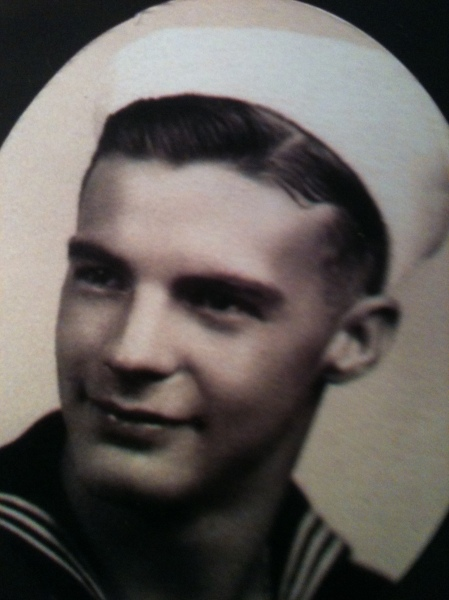 Jim Clawson is pictured more than 65 years ago when he served as a gunner aboard a transport ship that made a dozen or more trips across the Atlantic with military supplies during World War II. Photo provided by Evelyn Lewis