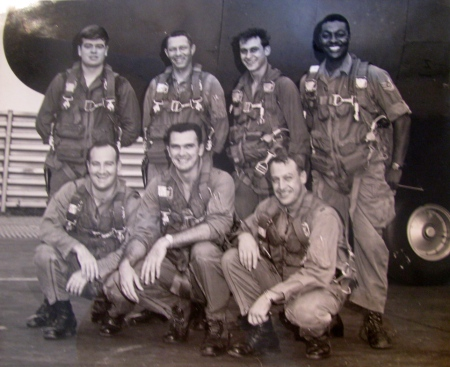 This is Lt. Col. Ron Dudley's C-130A transport crew when he was flying secret missions into Thailand from the Royal Thai Air Force base in Thailand in 1967 during one of his three deployments to Vietnam. He's the fellow in the center squatting with dark hair. Photo provided
