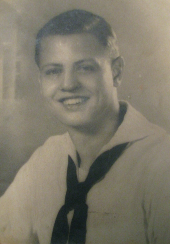 Fred Sauer of Arcadia in a picture taken shortly after he graduated from boot camp at Great Lakes Naval Receiving Station in 1943. Photo provided