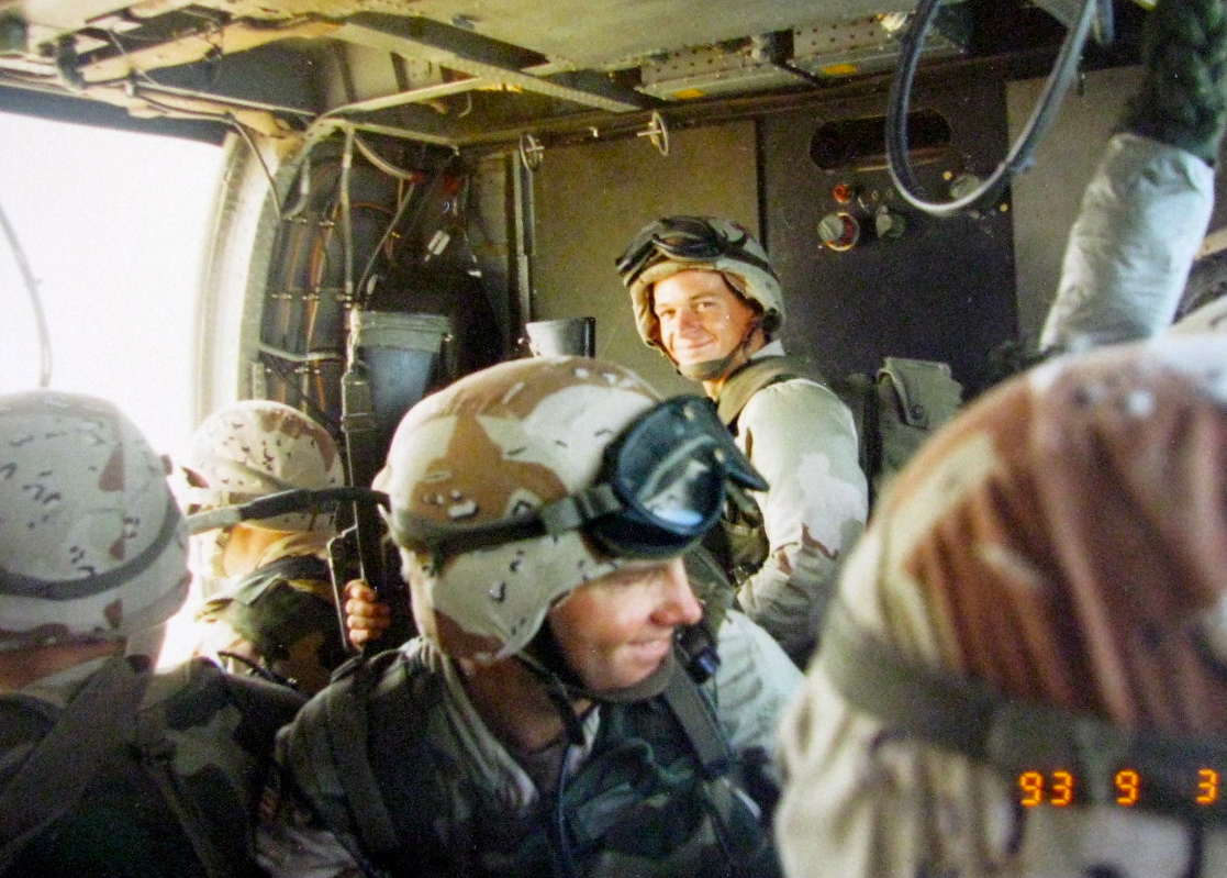 Pvt. Marc Good a medic with the Third Ranger Battalion gets ready to exit his Black Hawk helicopter during a military strike in Mogadishu, Somalia in 1993.