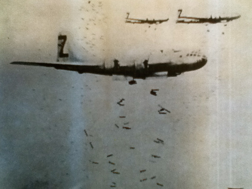 "The ""Sharon Sue,"" Althoff's B-29 bomber is pictured in the foreground dropping fire bombs on Tokyo during a raid during the spring of 1945. Photo provided by Bob Althoff"