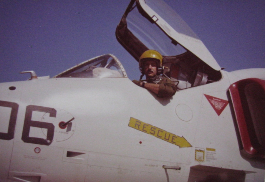 "Lt. Ken Heitel of Venice picture in his A-4E ""Skyhawk"" jet fighter. He flew off the deck of the carrier Independence during the ""Cold War"" of the 1970s. Photo provided by Ken Heitel"