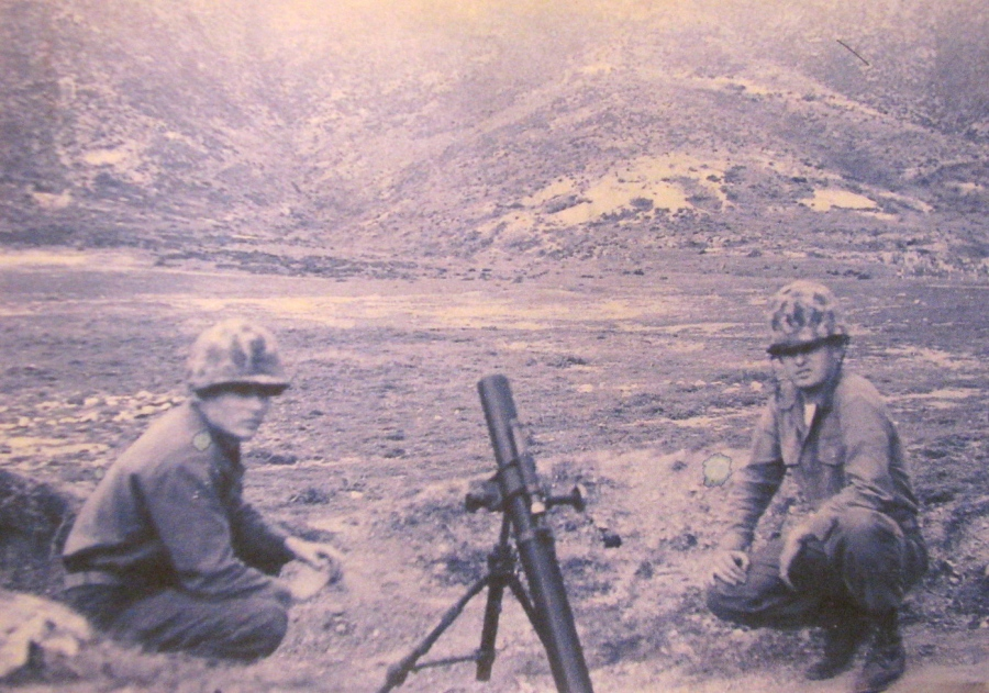 Hemingway is shown (at the right) with a buddy and a mortar somewhere in Europe during the early 1960s. Photo provided