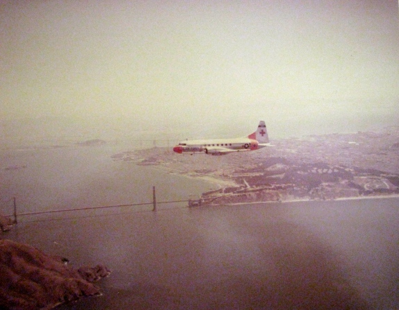 "1st Lt. Jean Carr was aboard this C-131 ""Super COnstellation"" serving as a flight nurse on this Air Force transport taking wounded soldiers home. They're flying over San Francisco Bay with the Golden Gate Bridge below. Photo provided by Jean Carr"
