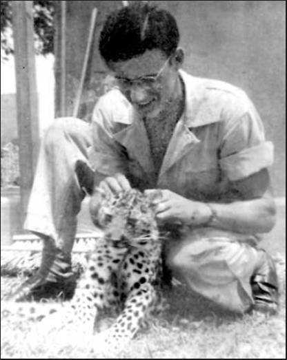 Sgt. Pete Chisholm of Port Charlotte with his spotted leopard. He got the cat while serving near Calcutta, India, during World War II. Photo provided by Pete Chisholm