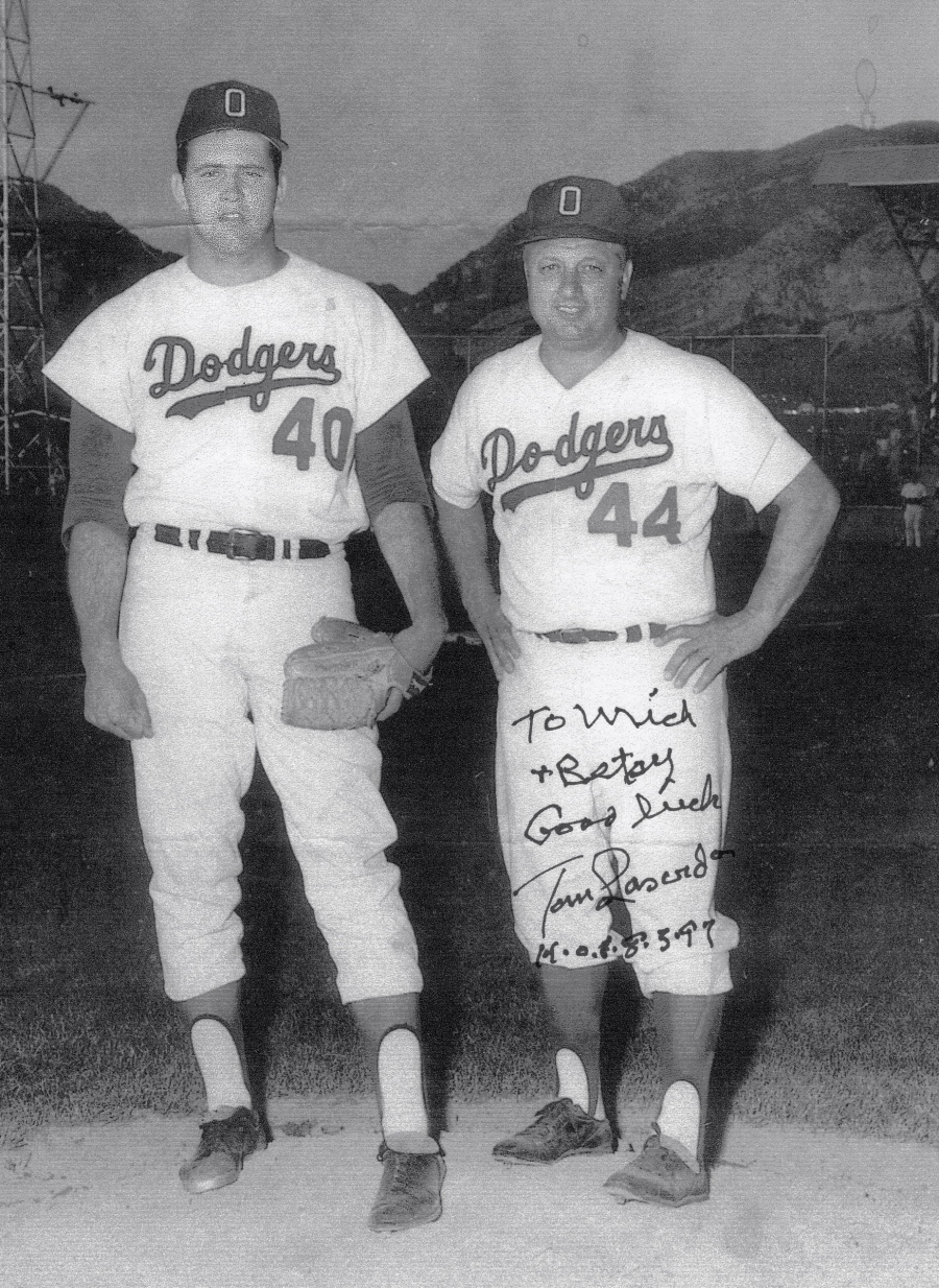 "Mick Johnson, a 6-feet, 4-inch pitcher for the Los Angeles Dodgers in 1968, stands besides his mentor, Dodger's minor-league manager Tom Lasorda. They said: ""'Mick had a fast ball he could throw through a brick wall.'"" Photo provided by Betsy Bracy"