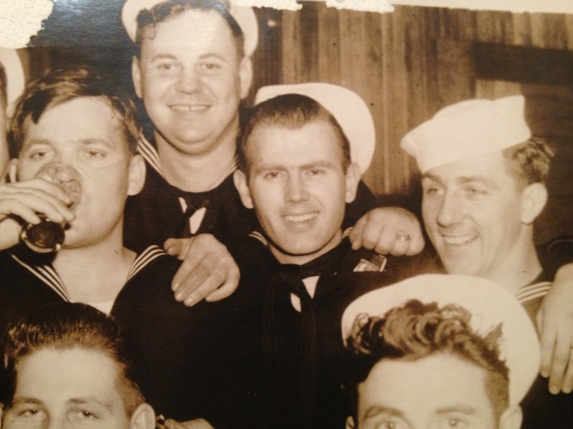 Luther Johnson is having a beer with his buddies from the carrier USS Hancock during World War II. Photo provided Nancy Poe