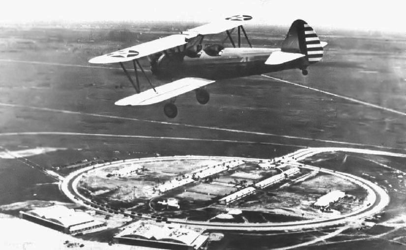 Maj. George Ola circles his Stearman biplane trainer over Carlstrom Field in Arcadia in 1942. This is the field where Don Bunger trained to be a fighter pilot during the closing days of World War II. Photo United States Army Air Force