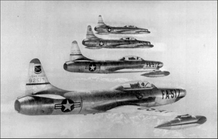 Hal Johnson was flying the F-94 all-weather interceptor in the foreground. He provided cover for B-29 bombers and flew fighter interceptor missions in all kinds of weather during the Korean War in one of these jets. Photo provided