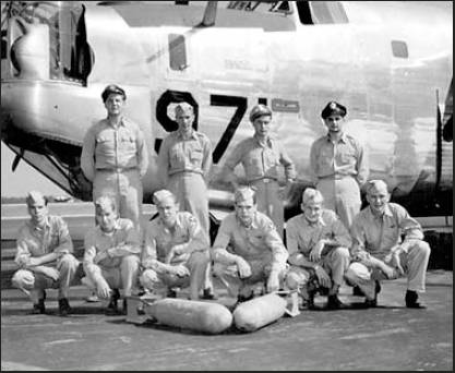 "This is the crew of ""Silver Chief,"" a B-24 in the 458th Bomb Group, 753rd Squadron, 8th Air Force during World War II. Riverwood resident 1st Lt. Ed Sealy, the pilot, is second from the left in the back row. Photo provided"