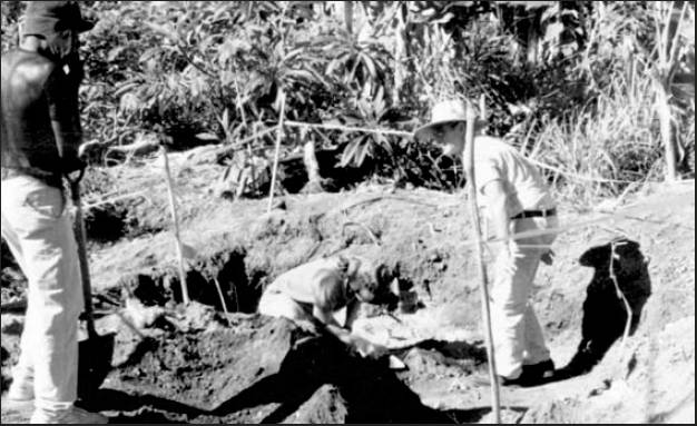 A team searches outside the capital city of Honiara on the island of Guadalcanal in the Pacific, looking for the bones of Marine Pvt. Robert Budd. In the picture, from the left, is a native; Sara Collins, a federal government forensic anthropologist; and Ken Bud, the younger brother of the dead World War II Marine. Photo provided