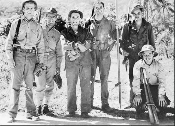 Vincent Carvalho, second soldier from the left, is wearing a Smoky Bear hat. The picture was taken in New Caledonia when the Americal Division first arrived in the Pacific in January 1942. Photo provided