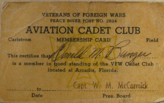 This was Bunger's membership card issued by the Arcadia VFW that allowed him admission as a 21-year-old Army Aviation cadet training at Carlstrom Field. Photo provided