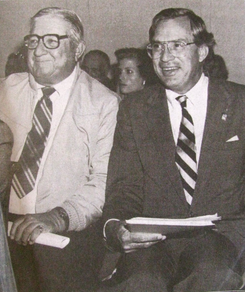 In June 1990 Glenn Jenkins, left, and U.S. Congressman Porter Goss (R-Sanibel) at a House Judiciary Subcommittee Hearing on the Navy's use of mustard gas testing in World War II. Photo provided