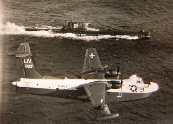 "This P-5M ""Flying Boat"" monitors a Soviet submarine during the ""Cuban Missile Crisis"" in October 1962. Photo provided"