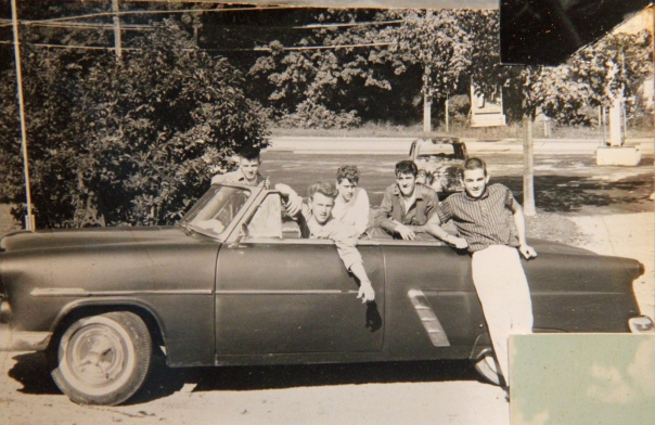 Mengel is the young man behind the wheel of this 1952 Ford convertible. He and his buddies decided to sign up for the service and go in the Navy at the same time. Photo provided