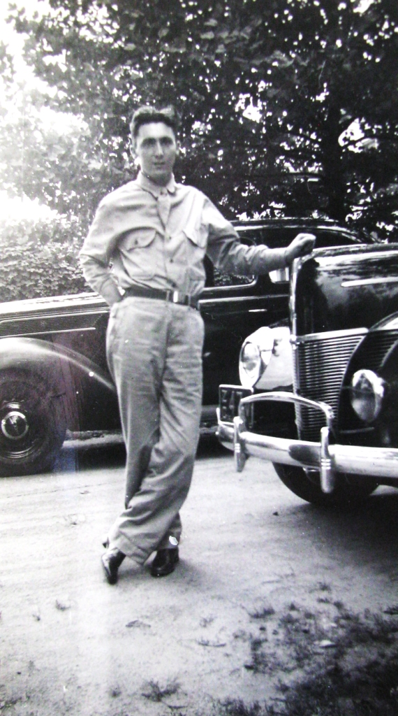 Driver is pictured in 1942 before he went to the Pacific as a tail gunner on a B-24 bomber. He is leaning on his 1940 Ford. The car is still in the family and is owned by his son Dale. Photo provided