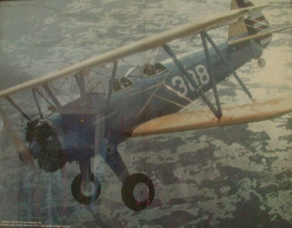 This painting of a PT-17 two-place trainer is like the ones Lightfoot taught young aviators to fly in Arcadia a lifetime ago. Painting provided