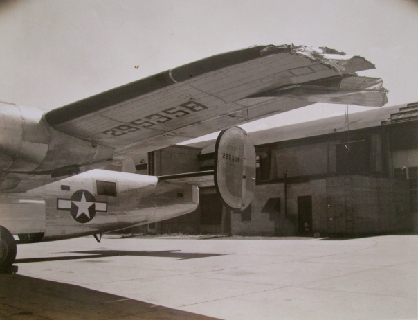 This is what was left of the wing of his B-24 bomber after it collided with a single engine trainer on takeoff from a airfield in Omaha, Neb. in 1944. Approximately 14 feet of the plane's left wing was gone. Photo provided