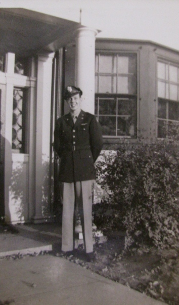 Lt. Tom Rebel is pictured at his parents' Chicago home during World War II. Photo provided