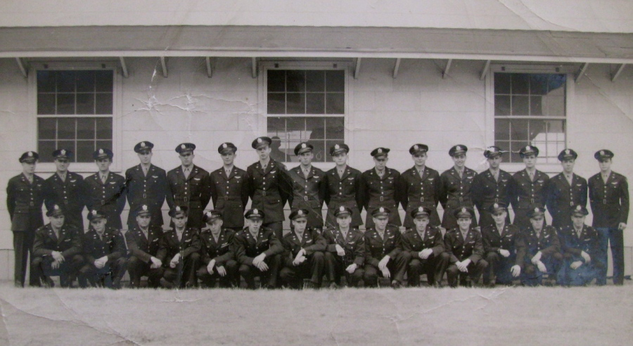 This is he graduating class at Lubbock, Texas  in early March of 1944 for he Advanced Twin Engine Group. Rebel is in the back row seventh from the left. Photo Provided