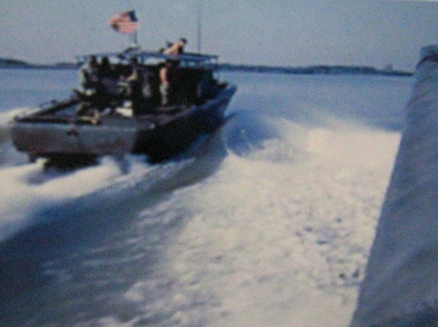 A PBR River boat charges up the Grand Canal searching for north Vietnam and Viet Cong troops transporting military supplies into south Vietnam in the early 1970s. Petty officer Everett Charles of El Jobean was skipper of one of these boats. Photo provided