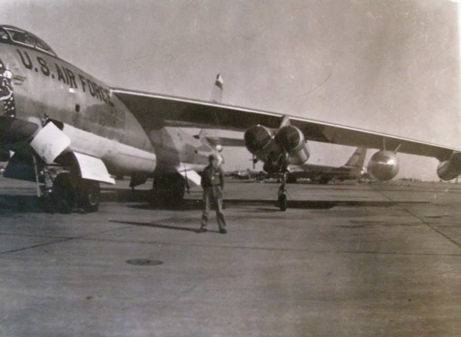 "Norman Page stands under the wing of a Boeing B-47 ""Stratojet"" at Lincoln Air Force Base in Nebraska. He kept it in the air for the Strategic Air Command. Photo provided"