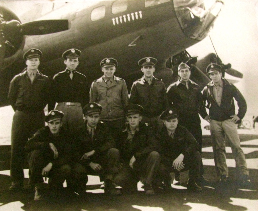 "This is the crew of ""Hot Foot Two,"" a B-17 bomber that flew as part of the 8th Air Force in Europe during the Second World War. From the left in the front row: Sgt. Laverne Pliler, Longview, Texas, tail gunner; Sgt. Kelly O'Keefe, Colville, Wa., waist-gunner; Sgt. Edward Owens, Taylor Ridge, Ill., ball turret gunner; Sgt. Seaton Woodley, Jr., waist-gunner. Back row left: Sgt. Lloyd Caubble, Wayne, Ark., radioman; 1st. Lt. Earl Miller, Chrisney, Ind., pilot; 1st Lt. Robert Snyder, Scranton, Pa., co-pilot; 1st Lt. William Troutman, Selings Grove, Pa., navigator; 1st Lt. Clayton Raynes, Columbus, Ohio, bombardier; Sgt. William Rae, Brooklyn, NY, engineer. Photo provided"