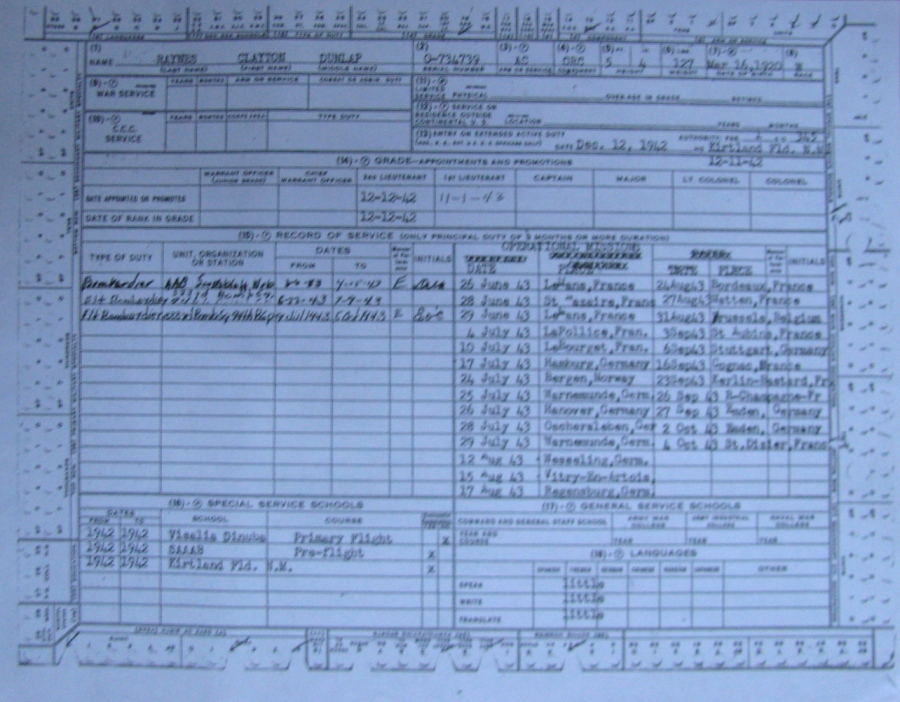 "This World War II flight log from Raynes' ""Flying Fortress"" tells his story. It notes he and his crew flew 25 combat missions over Nazi-occupied Europe starting on June 26, 1943 and running until Oct. 4. The crew of his B-17, ""Hotfoot Two,"" received the Distinguished Flying Cross for gallantry. Sun photo by Don Moore"