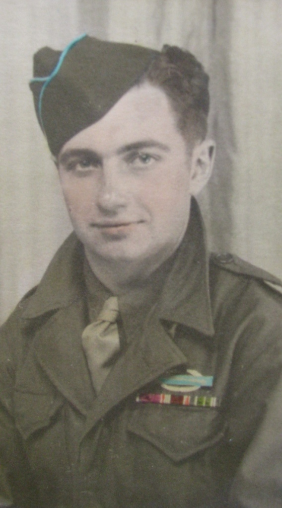 The war for Sgt. Clyde Housel of Reverwood subdivision in Port Charlotte is over when this picture of the 20-year-old soldier was taken in Reams, France in 1945. Note he's wearing the Combat Infantryman's Badge on his chest. Photo provided