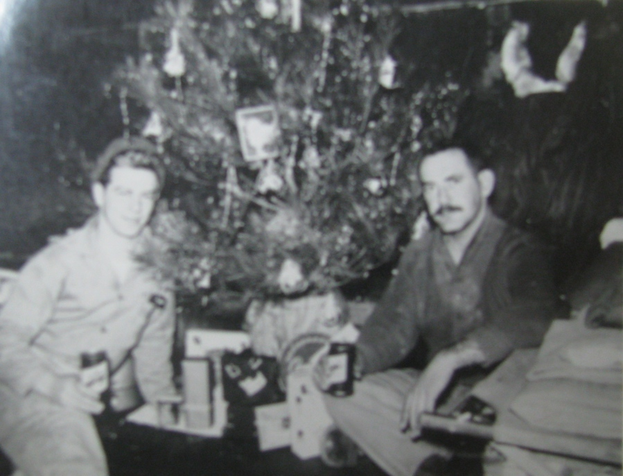 It's Christmas 1953 at Socho-Ri. Kocher is at the left and his buddy Ralph Eckart is at the right. Photo provided