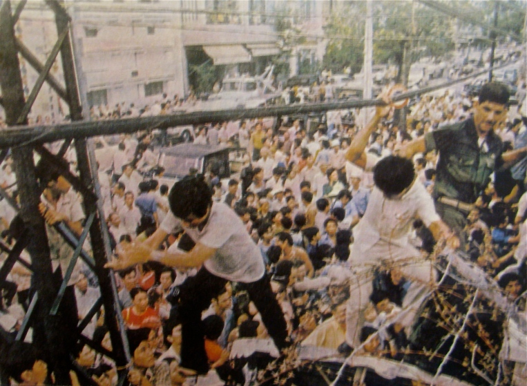 This is what the chaos in the street outside the American Embassy in Saigon looked like the day the North Vietnamese Army marched into Saigon on April 29, 1975 and took over. Photo provied