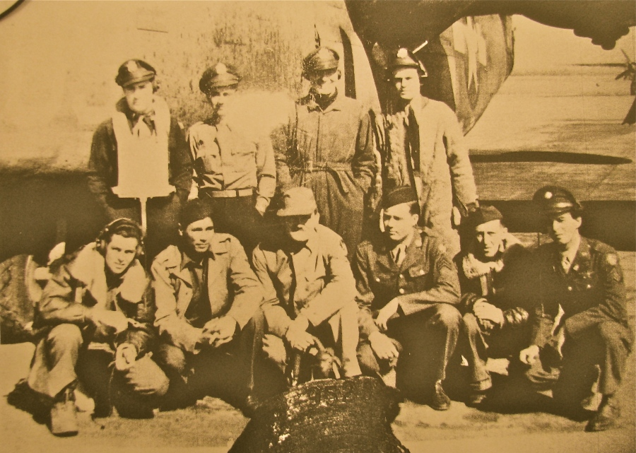 "This is the crew of the ""Alberta K,"" Pilot Matt Wilkinson, 23, is at the far left in the back row. Next to him is 2nd Lt. John L. Dupont, 22, copilot; 2nd Lt. William D. Jenkins, 24, bombardier; 2nd Lt. James F. Mc Intosh, 21, navigator. In the front row from the left: Cpl. Charles L. Miller, 21, radio operator; Sgt. Alverbon J. Boltis, 21, assistant radio operator; Sgt. Aaro A. Salonen, 23, nose gunner; Staff Sgt. Boyce L. Duncan, engineer, 21; Sgt. Fred Meisel, 36, tail gunner; and Sgt. Ken F. Maybery, 20,assistant engineer. Photo provided"