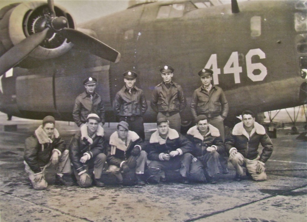 "This is the crew of ""Princess Pat,"" a B-24 bomber in which Belleson was the tail gunner. He is pictured in the front row second from the left. Photo provided"
