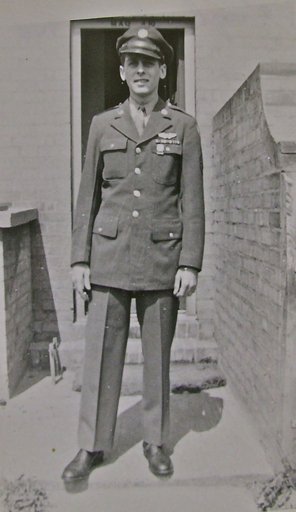 Wes Belleson is pictured in England during World War II when he flew as the tail gunner on a B-24