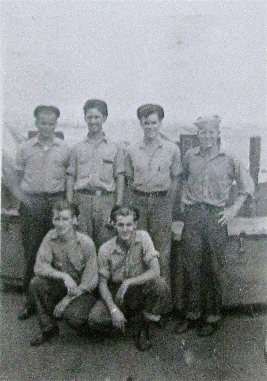 Tyson and his buddies were aboard the USS Sheridan off Okinawa in August 1945. He is the third from the left in he back row. Photo provided
